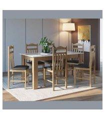 conjunto mesa fixa 6 cadeiras ameixa negra e preto lilies
