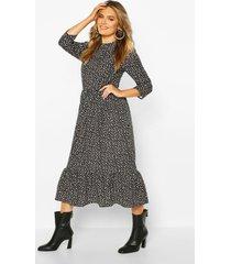 geweven jurk met stippen, black