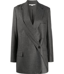 stella mccartney cross-over longline blazer - grey