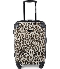 katie 20-inch leopard-print suitcase