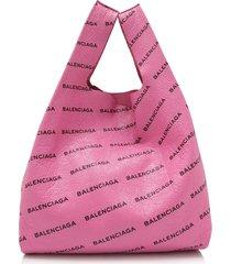 balenciaga lambskin supermarket shopper m pink sz: l