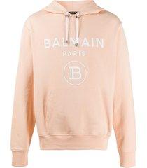 balmain logo print hoodie - neutrals