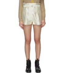 paperbag waist satin shorts