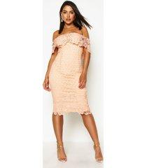boutique midi jurk met kant en open schouders, blush