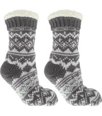 minxny women's cabin dreams old school slipper socks, 3 piece