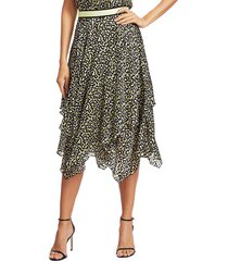 alice + olivia women's tarina geometric print handkercheif hem skirt - neon yellow multi - size 0