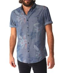 px men's chambray floral all over print buttondown shirt