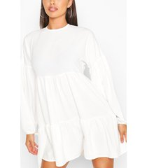 petite tiered balloon sleeve smock dress, ivory