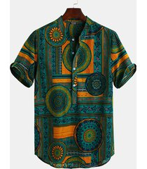 hombres casual tribal print stand collar suelto camisa