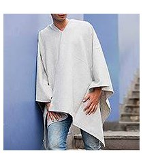 men's alpaca blend poncho, 'inca explorer in silver' (peru)