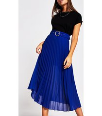 river island womens blue belted pleated midi skirt