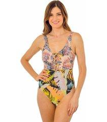 traje de baño con trenzado  multicolor ac mare