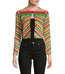 rainbow stripe cropped cardigan