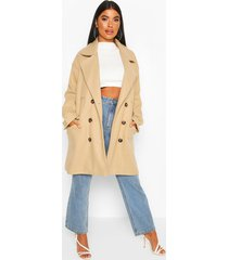 petite marl double breasted wool look coat, stone
