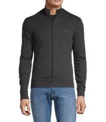 armani jeans men's embroidered-logo stretch-cotton sweatshirt - solid dark - size xl
