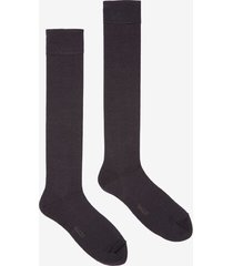 long plain socks black 42