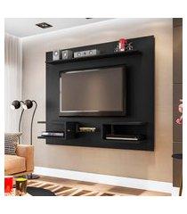 painel móveis bechara atlas para tv até 55 pol 2 nichos preto fosco
