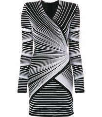 balmain structured shoulder stitched stripe mini dress - black