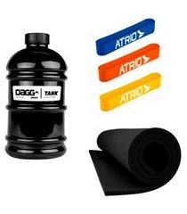 kit galão de água dagg tank 2,2 litros e mini band faixas elásticas e tapete eva - preto