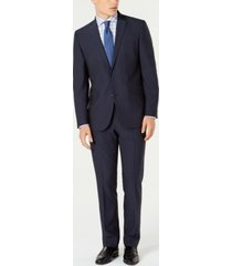 kenneth cole reaction men's ready flex slim-fit stretch blue micro-dot suit