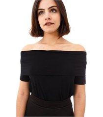 blusa moda vício manga curta com pala feminino