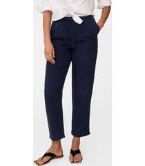 mango women's straight linen-blend pants