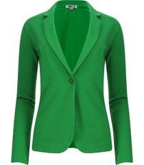 chaqueta tipo blazer unicolor color verde, talla l