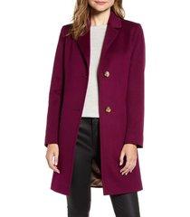 women's fleurette notched collar wool walker coat, size 8 - purple