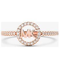 mk anello in argento sterling con placcatura in metallo prezioso e logo - oro rosa (oro rosa) - michael kors