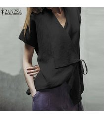 zanzea chic womens causal plain summer t-shirt tops cross v neck blusa asimétrica -negro