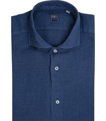 midnight blue linen man shirt