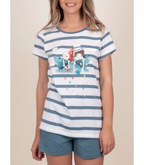 pyjama's / nachthemden admas pyjama kort t-shirt papierboot santoro blauw
