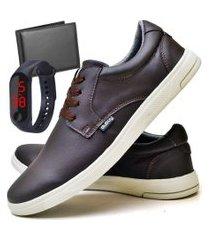 tênis sapatênis casual fashion com carteira e relógio led fine masculino dubuy 1401el marrom