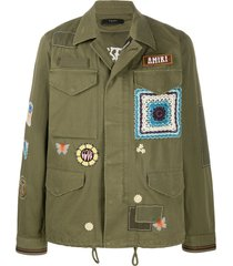 amiri long sleeve military jacket - green