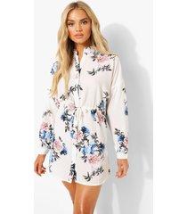 bloemenprint blouse jurk, ivory