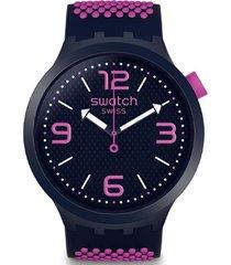 reloj análogo morado swatch