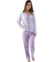 pijama linha noite longo lilã¡s - roxo - feminino - dafiti
