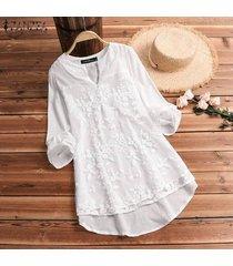 zanzea las mujeres más del manga larga camiseta floral v del cuello de la blusa holgada del suéter tops tee -blanquecino