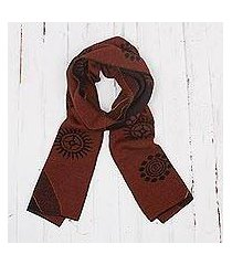 men's alpaca blend scarf, 'mahogany and black cosmovision' (peru)