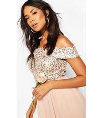 bruidsmeisjes maxi jurk met pailetten en boothals, blush