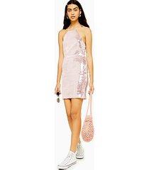 sequin halter neck mini dress - pale pink