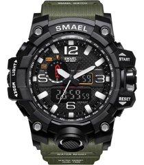 reloj militar hombre led deportivo smael 1545 verde militar