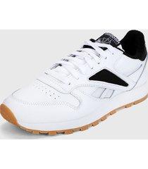 tenis lifestyle blanco-negro reebok cl leather mark