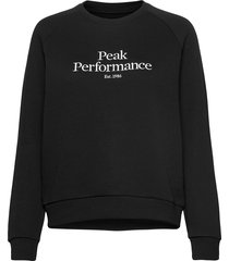 w original crew cold blush sweat-shirt trui zwart peak performance