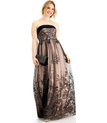 teeze me juniors' strapless glitter tulle-overlay ball gown