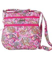 bolsa carteiro tecido transversal  matelassê casual rosa