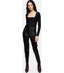 black real leather biker pants - black