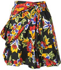 carolina herrera draped front floral mini skirt - black