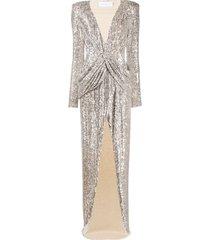 nervi ada champagne sequin cocktail dress - silver