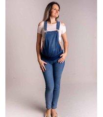 macacã£o jeans de gestante zoah ref. 5080m jeans azul claro - azul - feminino - dafiti